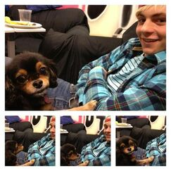 Pixie and Ross chilling in his dressing room