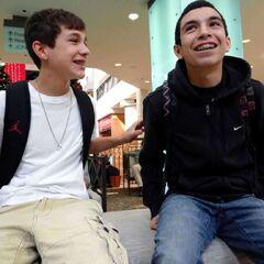 Austin Mahone, left, and his longtime friend, Robert Villanueva, share a laugh at Northpark Mall on Saturday, Nov. 19, 2011