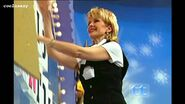 Adriana Xenides turning the letters on wheel of fortune