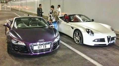 Alfa Romeo 8C Chasing Audi R8 V10 in Monaco, Loud Tunnel Runs