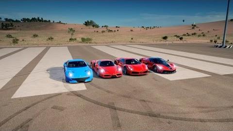 LaFERRARI vs F12tdf vs 488 GTB vs ENZO FERRARI - Drag Race Forza Horizon 3