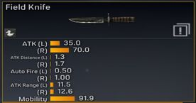 Field Knife new stats