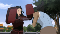 Korra spars with Asami
