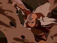 Aang destroys rock