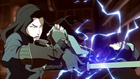 Asami electroshocking the Lieutenant