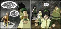 Toph and her students confront Aang