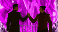 Mako and Bolin shake hands