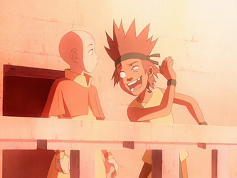 File:Aang and mischievous young Bumi.png