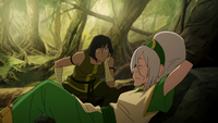 Bored Korra and relaxing Toph
