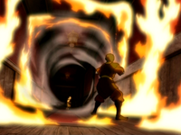 Aang fighting Zuko