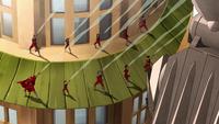 Airbenders attack Kuvira's mecha suit