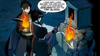 Aang, Zuko, Mai, and Kei Lo learn of the Kemurikage's origins