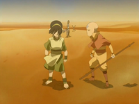 Aang yells at Toph