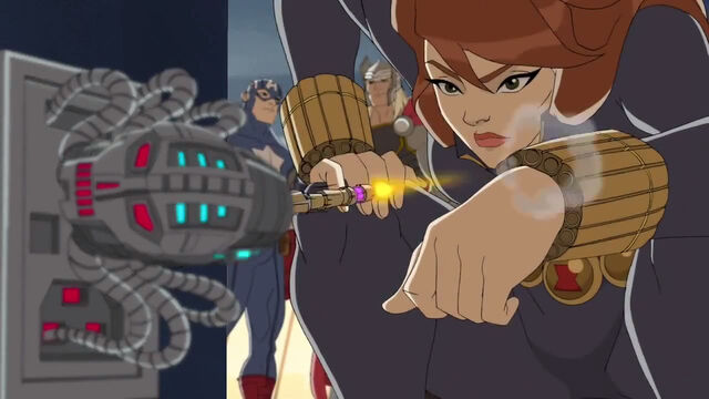 File:BW using the gauntlets in order to shoot a tranqulizer at the red skull's robot.jpg