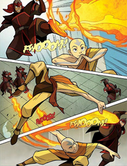 Fire Nation firebenders fighting Aang