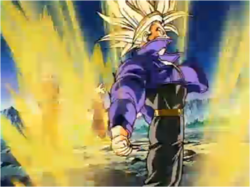 Trunks Transforming into an Ascended Super Saiyan
