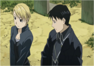 Riza Hawkeye at her Father's Grave With Roy Mustang