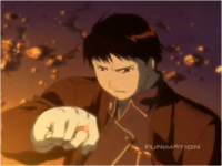 Roy Mustang Uses Red Stone Enhanced Flame Alchemy During Ishbol War