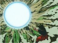Goku Having Fired the Spirit Bomb at Kid Buu
