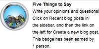 Cinq choses à dire