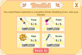 Winter Wedding Oven material