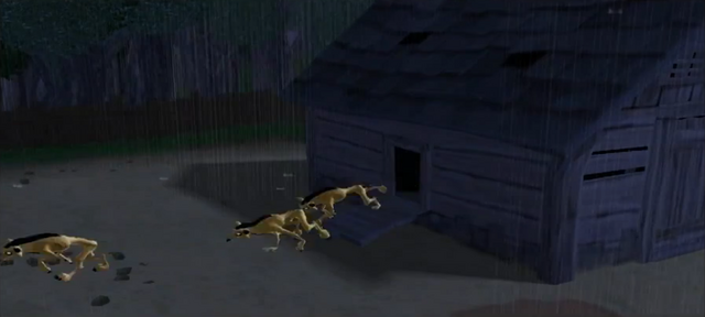 File:Barnyard Video Game Coyotes Run Out of the Chicken Coop.png