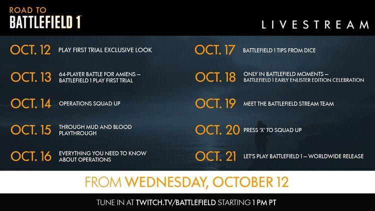 Road to Battlefield 1 Schedule
