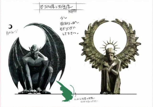 File:Gargoyle & Angel Statues.jpg