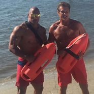 David Hasselhoff and Dwayne Johnson onset