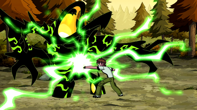 File:Ben using his overloaded Omnitrix on Malware.png