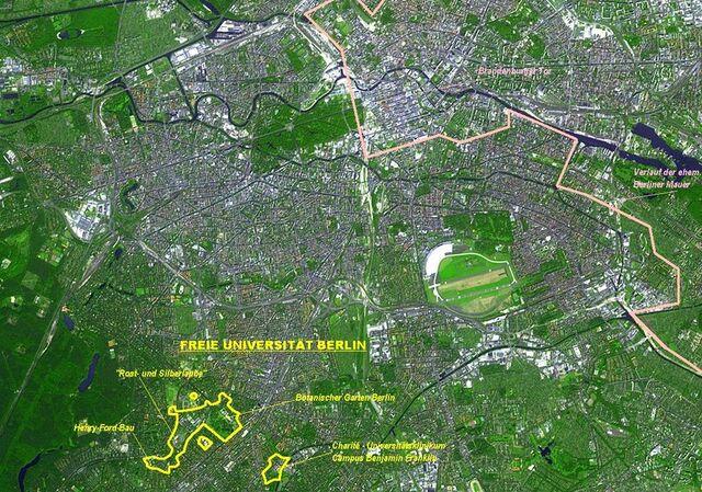 Datei:Freie Universität Berlin Luftbildfoto mit markiertem Campus 01-2005.JPG