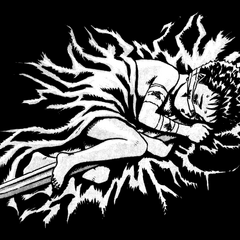Six year old Guts resting while clinging to his sword.