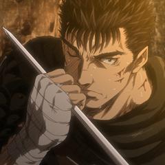 Guts grabs Serpico's sword before breaking it.
