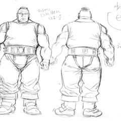 Front and back full body sketches of an older Pippin for the 1997 anime.
