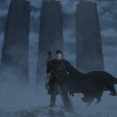 Guts awakens atop the Tower of Conviction, now transformed into a hand.