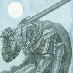 Guts kneels, fully clad in the Berserker Armor.