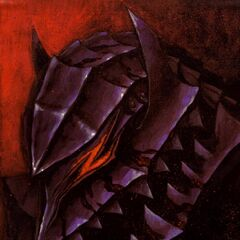 Guts wears the Berserker Armor, his face fully covered by the helmet.
