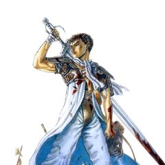 A young Guts stands covered in blood on the battlefield.