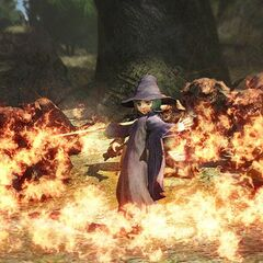 Schierke using fire magic against trolls.