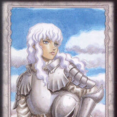 Griffith holds his helmet under his arm. (Secret card 5)