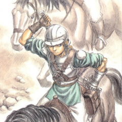 Judeau ready to fight on horseback.