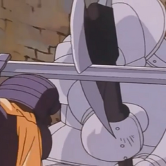 Guts' sword slashes a crack in Bazuso's battleaxe.