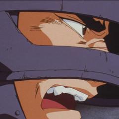 Guts challenges his enemies during battle.