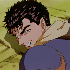 Guts uses his last moment of consciousness to glare at Griffith.