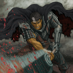 Guts swings his Dragonslayer, the resulting slice forcing blood out of an unseen enemy.