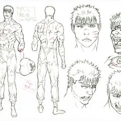 Full body and expression sketches of Guts post-<a href=