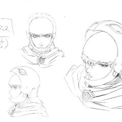 Clean profile sketches of Griffith wearing his open helmet for the 1997 anime.