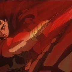 Guts honing his swordsmanship skills.