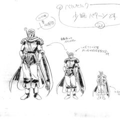 Sketches of Guts from different distances for the 1997 anime.