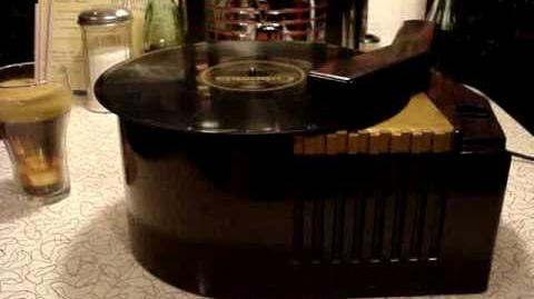 RCA VICTOR 78 RPM RECORD PLAYER MODEL 63-E PLAYING I'D DO ANYTHING FOR YOU BY THE MYSTERY GIRL
